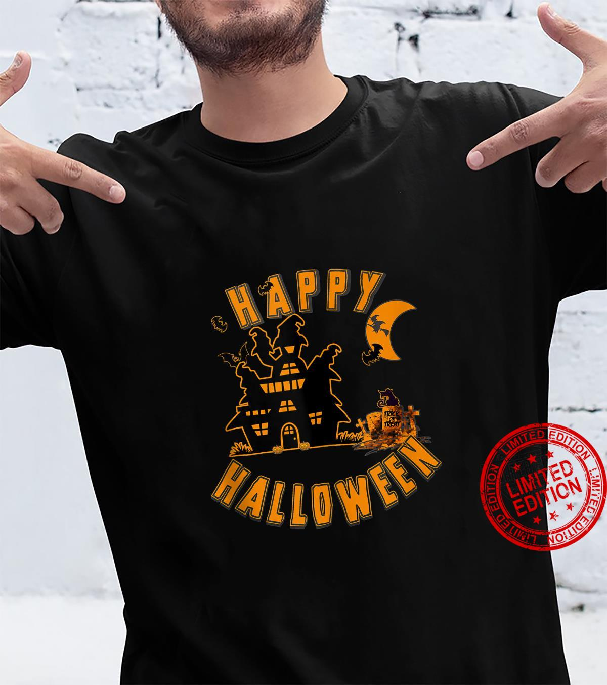 Happy Halloween Scene with Haunted House, Bats and Witch Shirt
