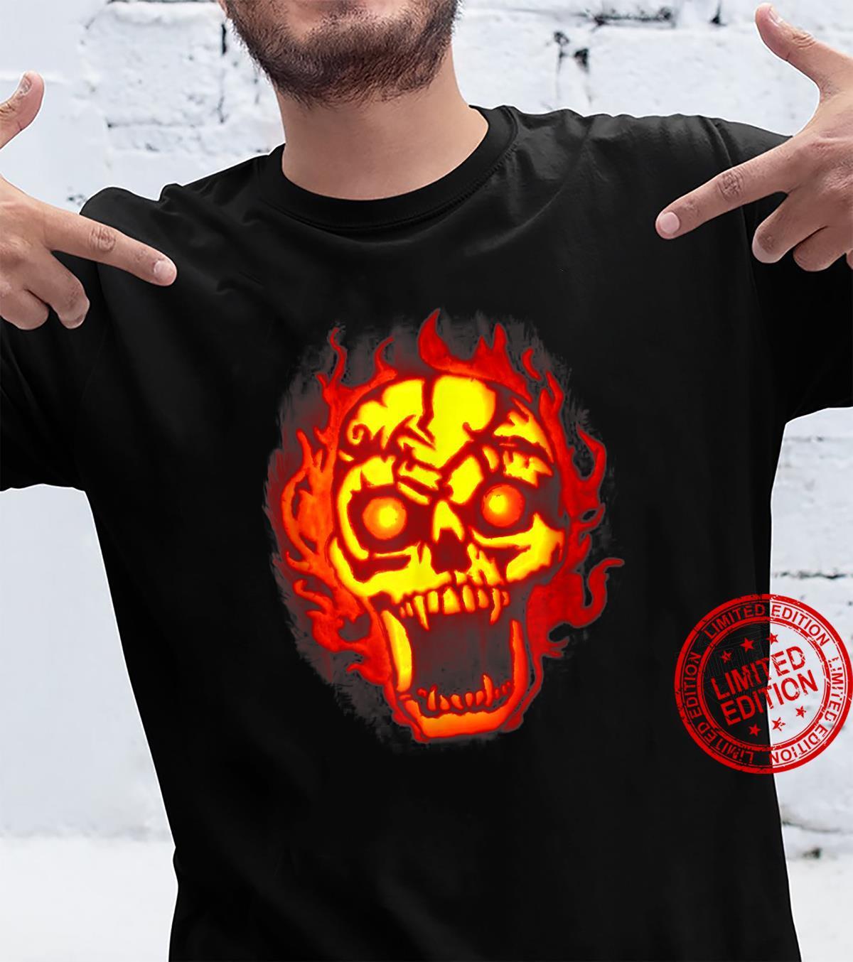 Skull Carved Pumpkin Jack O Lantern Halloween Shirt