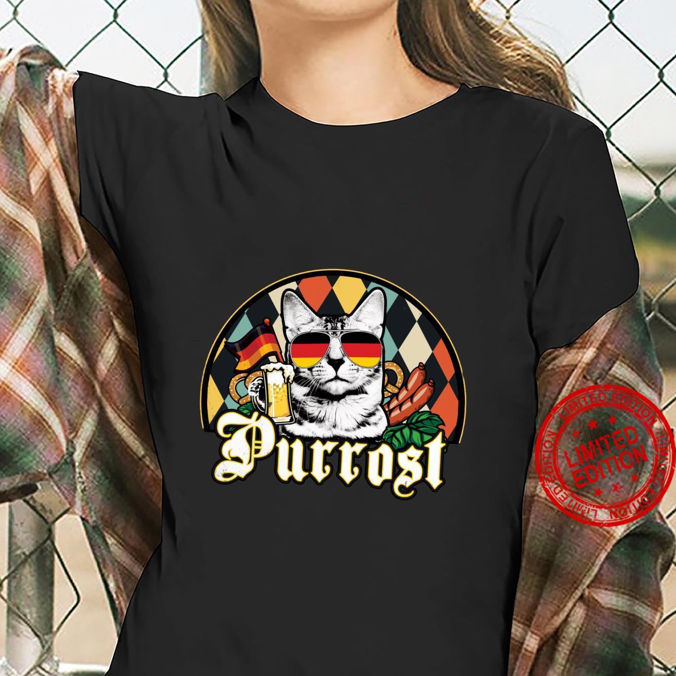 Vintage Oktoberfest Cat Lover Funny Prost Beer Purrost Cat Shirt ladies tee