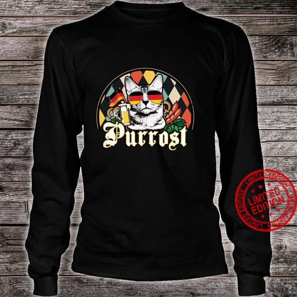 Vintage Oktoberfest Cat Lover Funny Prost Beer Purrost Cat Shirt long sleeved